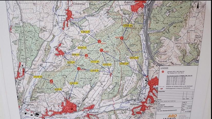 die geplanten Standorte der 6 Windräder auf der Karte