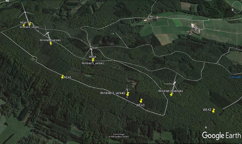 die Standorte als Satellitenbild mit Waldwegen