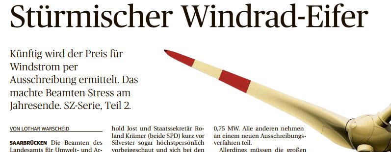 SZ Artikelserie über Windkraft